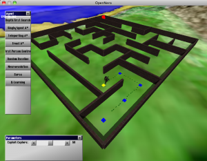 Screen capture of a maze from OpenNERO