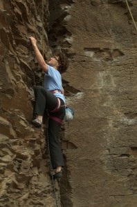 Michelle Vogel rock climbing