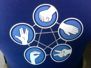 An extension of the classic game, known as Rock, Paper, Scissors, Lizard, Spock. Photo courtesy of Jose Silva.