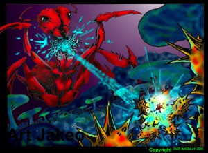Cartoon version of microbial warfare. An ant (in red) grows a colony of bacteria (in blue) that can blast away another microbe (yellow) with antibiotics. Image courtesy of Dr. Jake McKinlay, a former PhD student at Michigan State University and now a Professor of Microbiology at Indiana University (http://www.indiana.edu/~mckinlab).