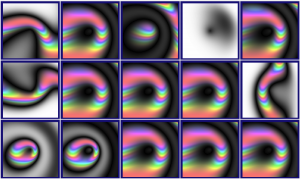 "The 15 copies of the original random image with slight changes (""mutations"")"