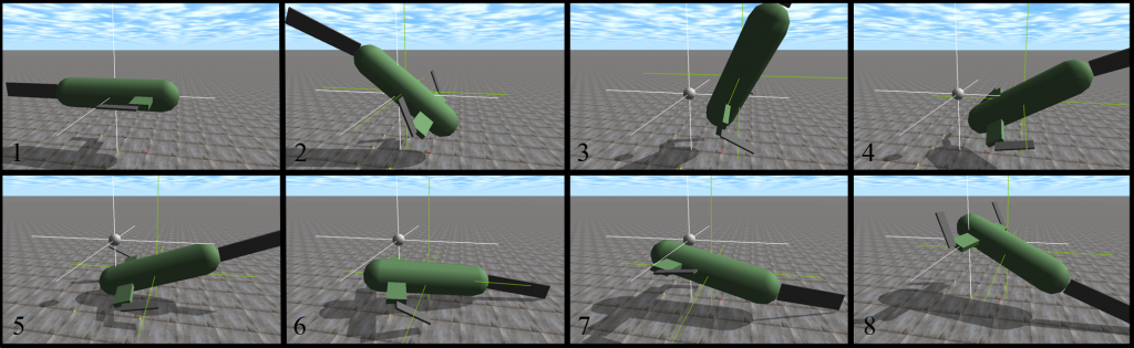 An evolved individual swims against a flow coming from the rear. Here, the controller flips the robot over to bring the caudal fin into an effective position to swim against the flow.