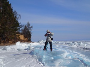 Drilling into ice on Lake Baikal