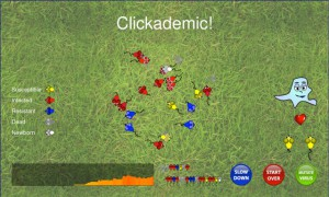 A screenshot of the Clickademic! game.
