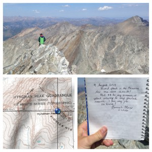 9 August 2013: Second peak in the Pioneers, first time above 12,000 ft! Peak #4 for my summer of plant collecting for my graduate research. I love my job. Go Science! Hannah Marx, U. Idaho