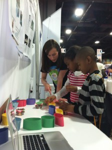 Explaining evolved robot behavior at the USA Science and Engineering Festival in Washington, DC in May 2014.