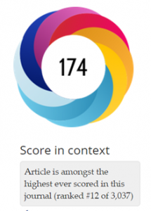 Altmetric score for Barres 2013 Neuron article.
