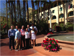 Our group in front of the Tempe Mission Palms Hotel. From left to right: Ryan Owen, Justin Jabara, Collin Stapleton-Reinhold, Jim Smith, Julie Horvath, Andrew Benner, Lauren Mamaril, and James Conwell.