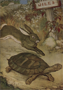 Similar to the Aesop's fable of the Tortoise and the Hare, more structured populations begin adapting more slowly, but can ultimately outpace less structured populations in the long run. Image attribution Project Gutenberg.