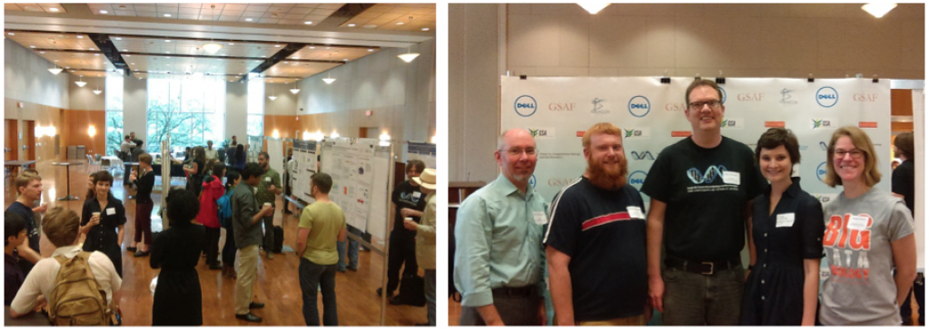 Figure 2. The Poster Session. Left: The poster session took place in a lovely ballroom. Right: The symposium ended with a postdoc and graduate student poster award presentation. L-R: Dr. Scott Hunicke-Smith, BEACONite Dr. Daniel Deatherage (postdoc winner), BEACONite Dr. Hans Hofmann, Claire McWhite (grad student winner), and BEACONite Rayna Harris.